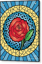 Acrylic Print featuring the mixed media Celtic Rose Stained Glass by Kristen Fox