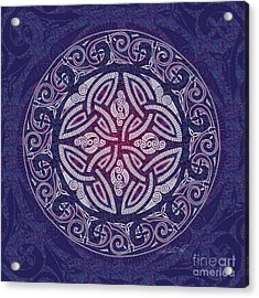 Acrylic Print featuring the mixed media Celtic Shield by Kristen Fox