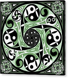 Acrylic Print featuring the mixed media Celtic Spiral Stepping Stone by Kristen Fox