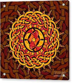 Acrylic Print featuring the mixed media Celtic Sun by Kristen Fox