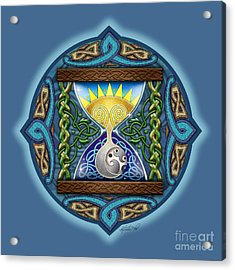 Acrylic Print featuring the mixed media Celtic Sun Moon Hourglass by Kristen Fox