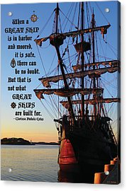 Celtic Tall Ship - El Galeon In Halifax Harbour At Sunrise Acrylic Print