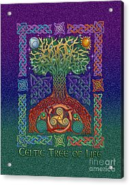 Acrylic Print featuring the mixed media Celtic Tree Of Life by Kristen Fox