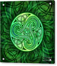 Acrylic Print featuring the mixed media Celtic Triskele by Kristen Fox