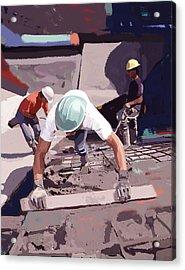 Cement And Rebar Acrylic Print by Brad Burns