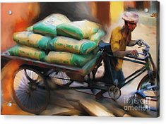 Cement Runner Acrylic Print by Bob Salo