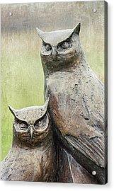 Cemetery Art Two Owls In The Rain Acrylic Print