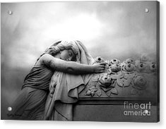 Acrylic Print featuring the photograph Cemetery Grave Mourner Black White Surreal Coffin Grave Art - Angel Mourner Across Rose Coffin by Kathy Fornal
