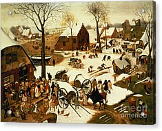 Census At Bethlehem Acrylic Print by Pieter the Elder Bruegel