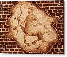 Acrylic Print featuring the painting Centaur Hunting Original Coffee Painting by Georgeta Blanaru