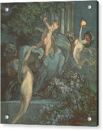 Centaur Nymphs And Cupid Acrylic Print by Franz von Bayros