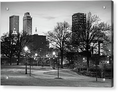 Acrylic Print featuring the photograph Centennial Park Black And White - Tulsa City Skyline by Gregory Ballos