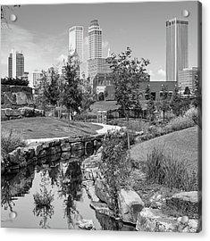 Centennial Park Tulsa Skyline View - Square - Black And White Acrylic Print