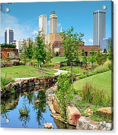Centennial Park Tulsa Skyline View - Square Acrylic Print