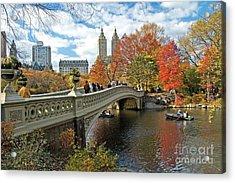 Central Park Autumn Cityscape Acrylic Print by Allan Einhorn