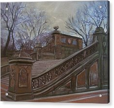 Central Park Bethesda Staircase Acrylic Print by Anita Burgermeister