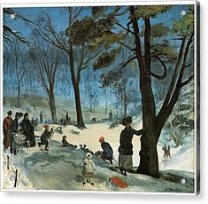 Central Park In Winter Acrylic Print by William Glackens