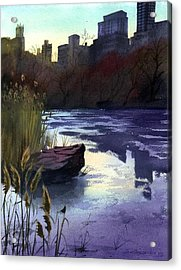 Acrylic Print featuring the painting Central Park Lake by Sergey Zhiboedov