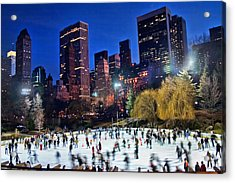 Central Park Skaters Acrylic Print by June Marie Sobrito
