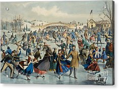Central Park, Winter The Skating Pond, 1862 Acrylic Print
