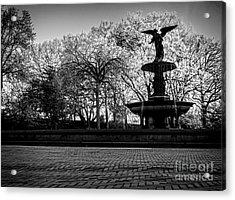 Central Park's Bethesda Fountain - Bw Acrylic Print by James Aiken