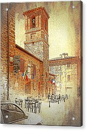 Central Square And Comune Building With Bell Tower Paciano Acrylic Print