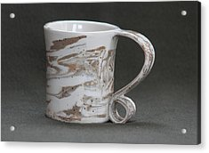 Ceramic Marbled Clay Cup Acrylic Print by Suzanne Gaff