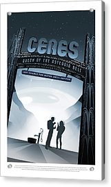 Ceres Queen Of The Asteroid Belt - Vintage Nasa Poster Acrylic Print by Mark Kiver