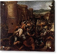 Cesari Giuseppe St Clare With The Scene Of The Siege Of Assisi Acrylic Print by Giuseppe Cesari