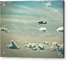 Cessna 140 Departing Delaware Coastal Airport At Georgetown Acrylic Print