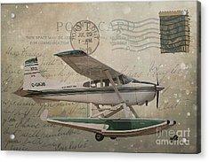 Cessna Skywagon 185 On Vintage Postcard Acrylic Print by Nina Silver