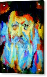Chabad Lubavitch Rebbe Colorful Bright Acrylic Painting Menachem Schneerson Rabbi Crown Heights Rainbow Acrylic Print