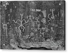 Acrylic Print featuring the photograph Chaco Canyon Petroglyphs Black And White by Adam Jewell