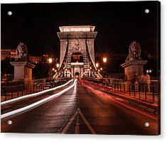 Acrylic Print featuring the photograph Chain Bridge At Midnight by Jaroslaw Blaminsky