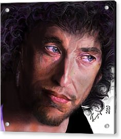 Chained To The Sky -  Bob Dylan  Acrylic Print by Reggie Duffie