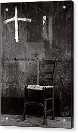 Chair And Cross Chania Crete Acrylic Print by Werner Hammerstingl