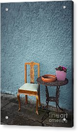 Chair And Iron Table Acrylic Print by Carlos Caetano