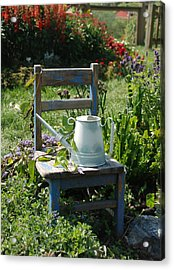 Chair And Watering Can Acrylic Print by William Thomas