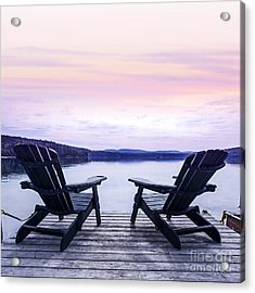Chairs On Lake Dock Acrylic Print by Elena Elisseeva
