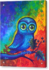 Acrylic Print featuring the painting Chakra Abstract With Owl by Agata Lindquist