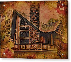 Acrylic Print featuring the digital art Chalet In Autumn by Kathy Kelly
