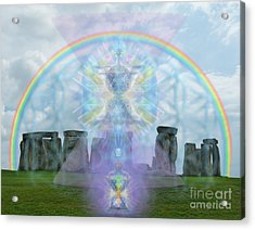 Chalice Over Stonehenge In Flower Of Life And Man Acrylic Print by Christopher Pringer