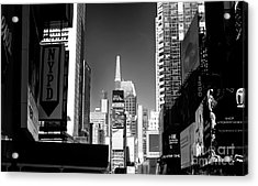 Acrylic Print featuring the photograph Challenges In Times Square by John Rizzuto