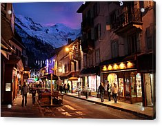 Chamonix Town In The Shadow Of Mont Blanc In The French Alps Acrylic Print by Pierre Leclerc Photography