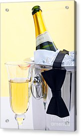 Champagne Black Tie And Lipstick Acrylic Print by Richard Thomas