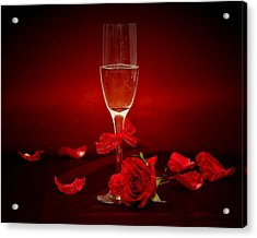 Champagne Glass With Red Roses And Petals Acrylic Print