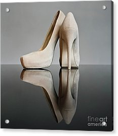 Acrylic Print featuring the photograph Champagne Stiletto Shoes by Terri Waters