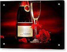 Champagne With Red Roses And Petals Acrylic Print