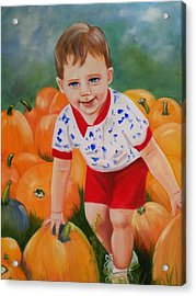 Chance With The Pumpkins Acrylic Print by Joni McPherson