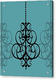 Acrylic Print featuring the photograph Chandelier Delight 1- Blue Background by KayeCee Spain